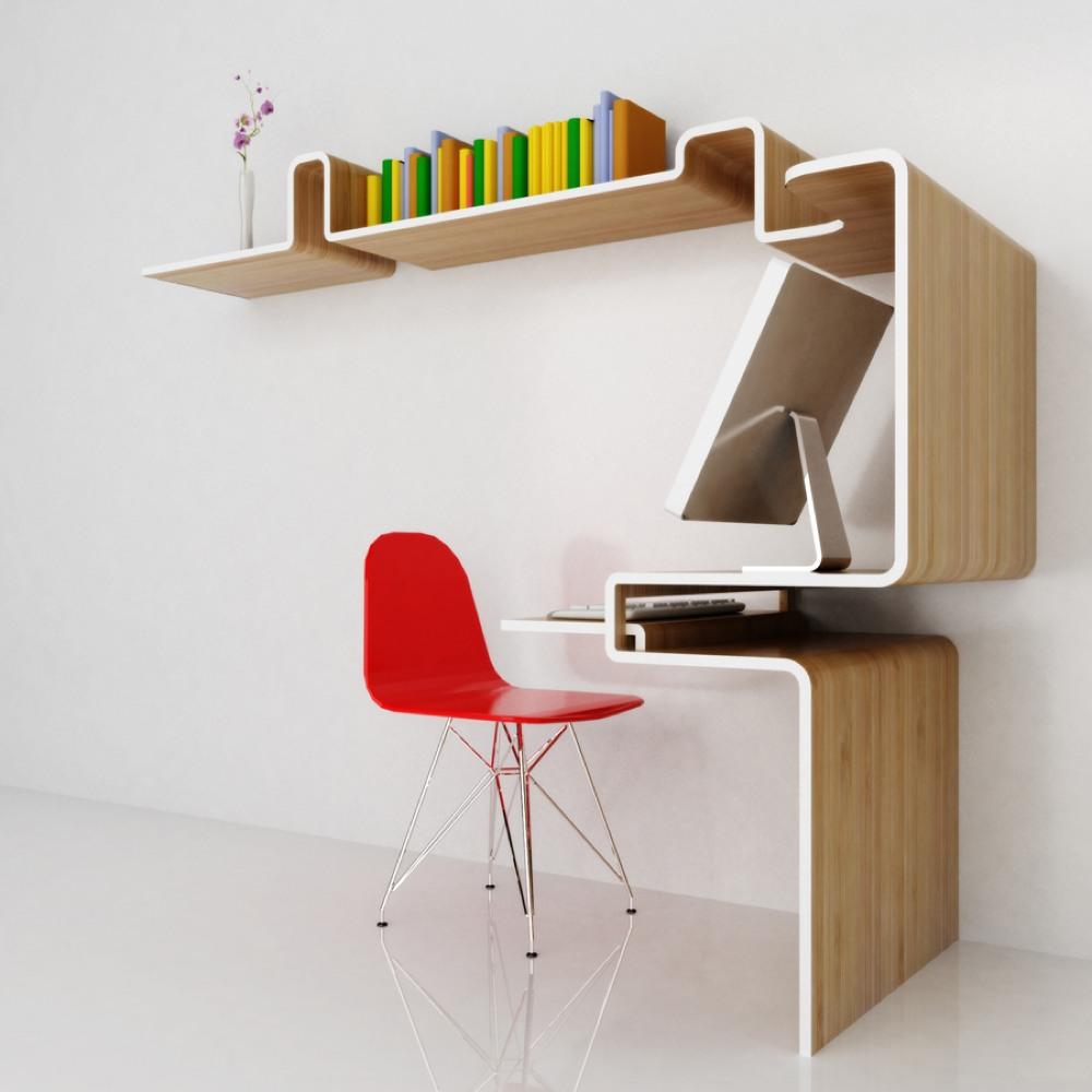misosoupdesignの作り付け棚一体型ワークデスク   住宅デザイン