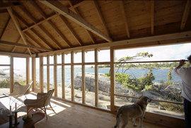 ダイニング,海沿い,ガラス張り,窓,ログハウス