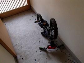 玄関の土間に自転車