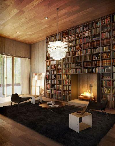 巨大作り付け本棚と暖炉と寛ぎの絨毯.jpeg