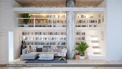 リビングの2階建て巨大作り付け本棚1.jpg