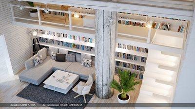 リビングの2階建て巨大作り付け本棚2.jpg
