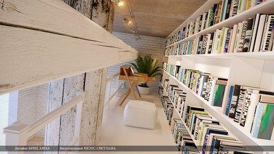 リビングの2階建て巨大作り付け本棚4.jpg
