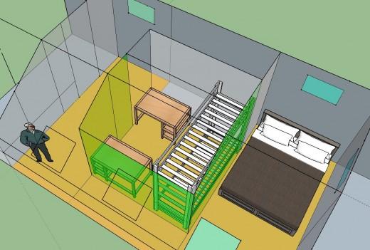 勾配天井の下のロフト的ベッドルーム クイーンサイズのベッドあり 12.5畳と4.5畳に区切ってみる 2段ベッドとデスク2個その2 頭上から