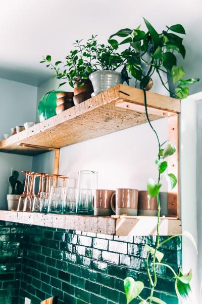 深いエメラルドグリーンのタイルとラスティックで重厚なキッチンの棚に置かれた観葉植物