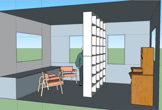 2階リビング 本棚でパーティション3本棚のみ右から