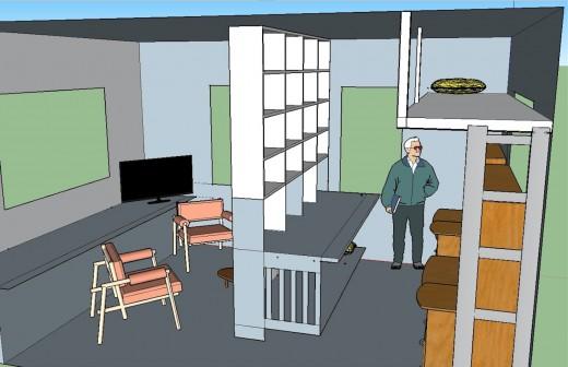 2階リビング 本棚でパーティション4本棚とロフトベッド 左上から