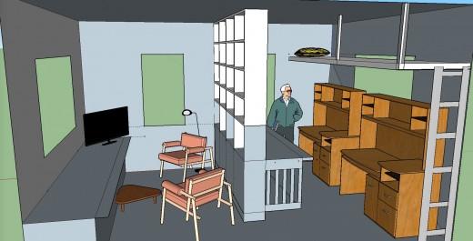 2階リビング 本棚でパーティション6本棚とロフトベッド 右から 椅子の向き替え