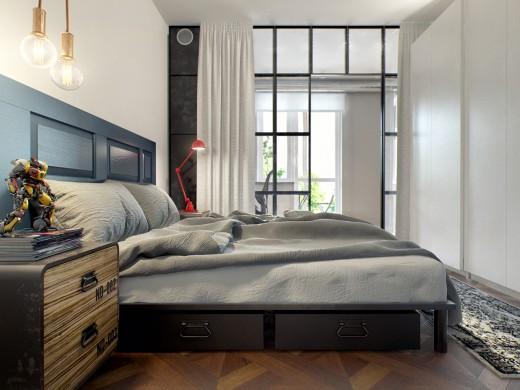 格子ガラスで仕切られたベッドルーム2