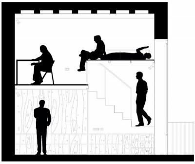 狭小ワンルームリノベーション住宅の断面図1