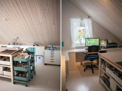 中央に作業用カウンターのある、IKEAものを多用したロフトのワークスペース2