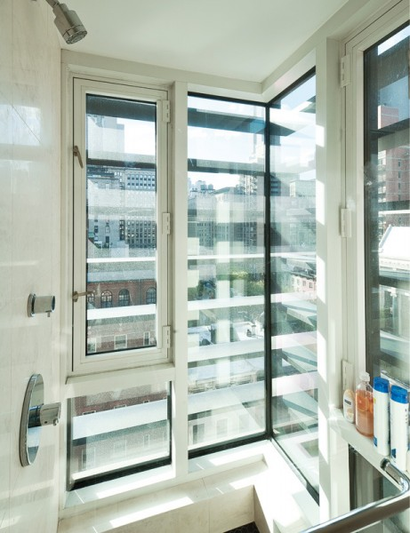 ニューヨークのペントハウスの全面ガラス張りのバスルーム