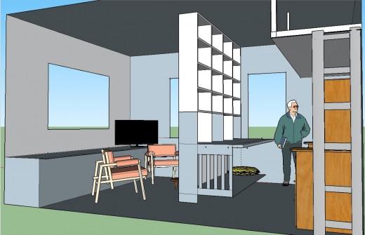 2階リビング 本棚でパーティション5本棚とロフトベッド 左下から