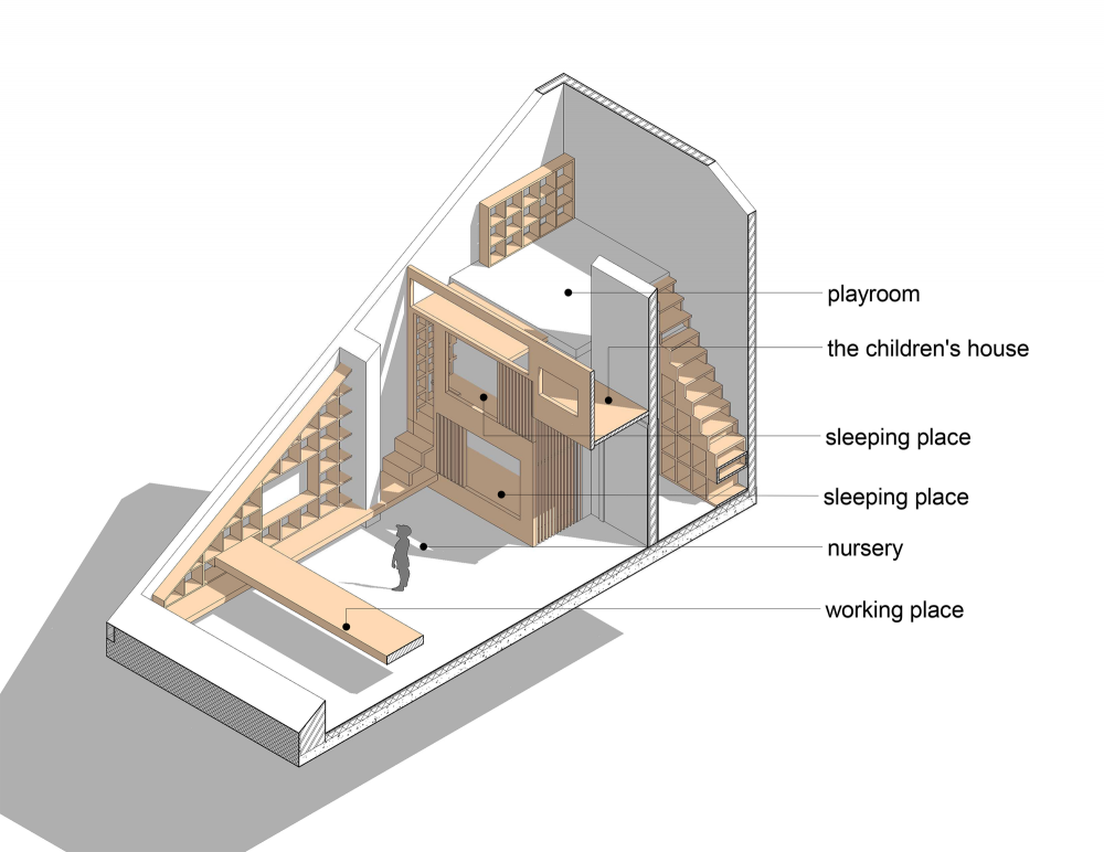 天窓と造作カウンターテーブルのある斜め天井の下のロフトの子供部屋の図面1