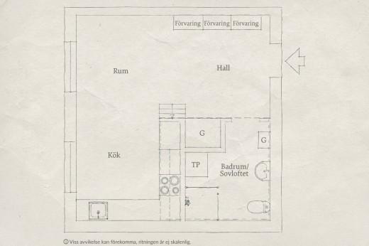 リビング・ダイニング・キッチンの脇にロフトのベッドルームのある1LDKの部屋の間取り図