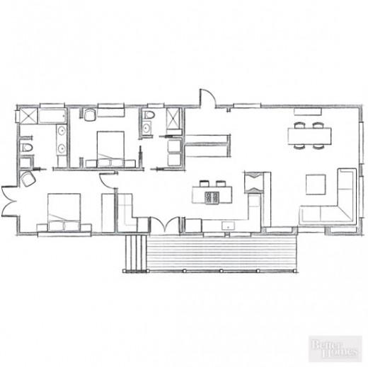 建坪40坪ウッドデッキの屋外ダイニングと庭付きの平屋のモバイルホームの間取り図