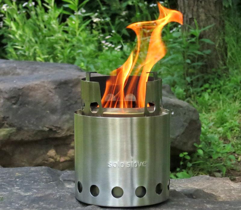 solo stove ソロストーブに火を入れたところ