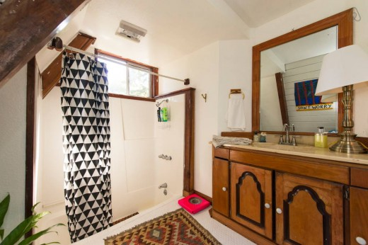 森の中に建つコンパクトなAフレームの山小屋 バスルーム