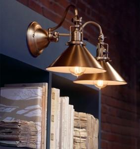 ウォール照明Fords Mill2連オールドブラス真鍮ワイド三角コーンシェード