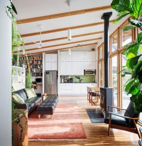 40畳のワンルーム住宅のリビングダイニングキッチン