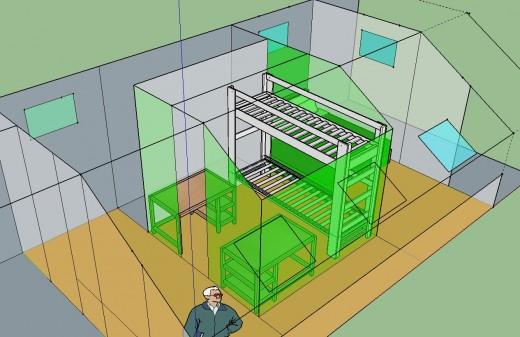 勾配天井の下のロフト的ベッドルーム クイーンサイズのベッドあり 12.5畳と4.5畳に区切ってみる 2段ベッドとデスク2個その2