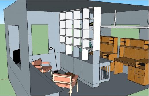 2階リビング 本棚でパーティション6本棚とロフトベッド 右から