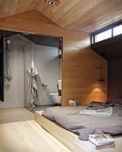 ベッドルームとシャワー