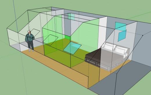 勾配天井の下のロフト的ベッドルーム クイーンサイズのベッドあり 12.5畳と4.5畳に区切ってみる 斜めから2