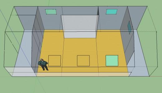 勾配天井の下のロフト的ベッドルーム 家具無し 頭上から