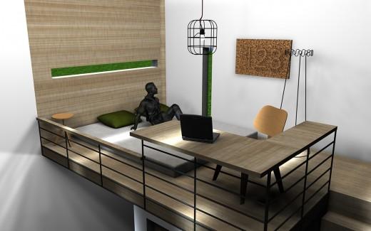 """箱型のコンパクトハウス""""Micro House""""の2階のロフトベッドスペースとワークスペース2"""