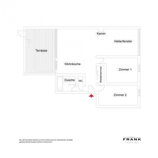 開放的なウッドデッキのテラスのあるペントハウスの間取り図