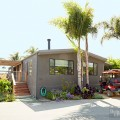 建坪90坪ウッドデッキの屋外ダイニングと庭付きの平屋のモバイルホーム