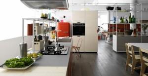 シンプルなフレームシェルフシステムのあるキッチン