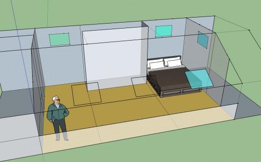 勾配天井の下のロフト的ベッドルーム クイーンサイズのベッドあり