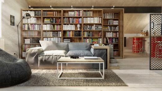 巨大な本棚のあるロフトのリビングスペース