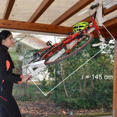 自転車駐輪用ラックflat-bike-liftのサイズ 回転半径145cm