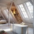 ロフトのベッドルーム&バスルームと壁面の本棚