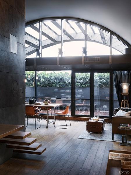 高いアーチ天井のリビング・ダイニング・キッチン1