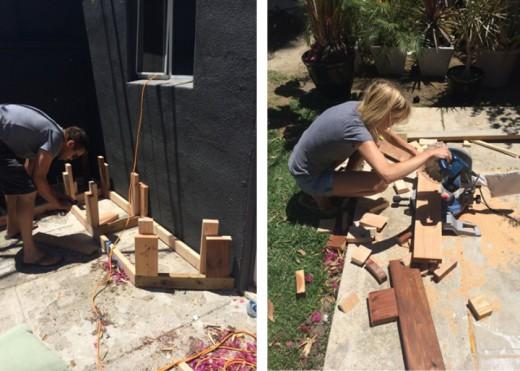 DIYで作った造作ベンチと暖炉のある中庭のDIY2 端切れの木材でベンチを作る