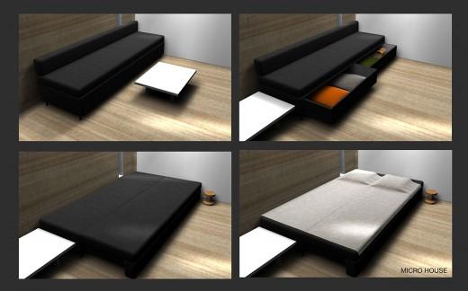 """箱型のコンパクトハウス""""Micro House""""のリビング&来客用ベッド"""