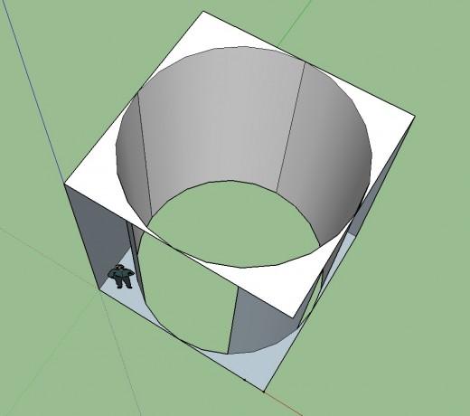 縦横各5.2m×高さ6mの立方体と、そこに接する円柱をSketchUpで 頭上から