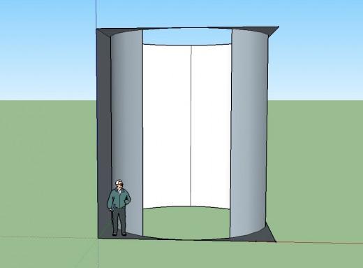 縦横各5.2m×高さ6mの立方体と、そこに接する円柱をSketchUpで 横から