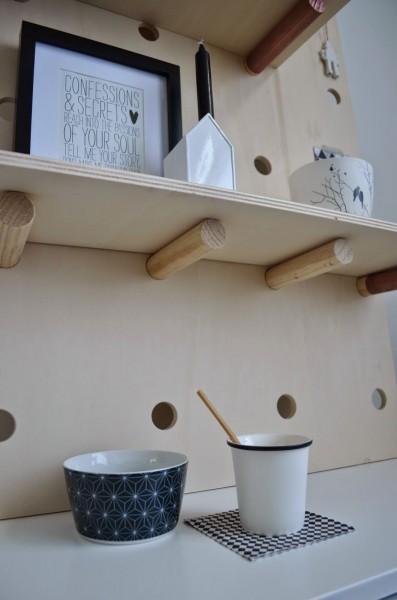 DIYの有孔ディスプレイボードの棚板
