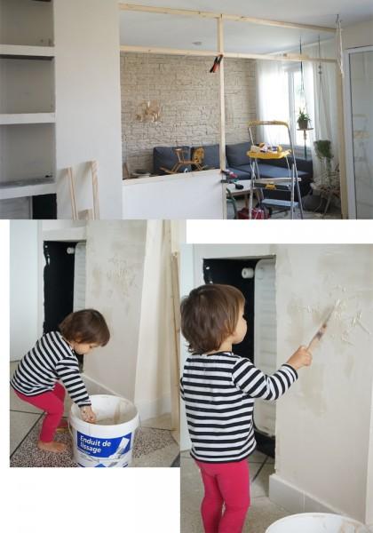 リビングとダイニングの間のガラスのパーティション壁をDIYで作る3