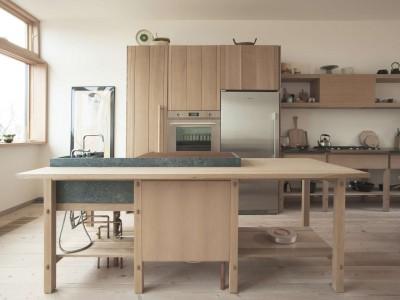 造作の木製アイランドキッチンカウンター