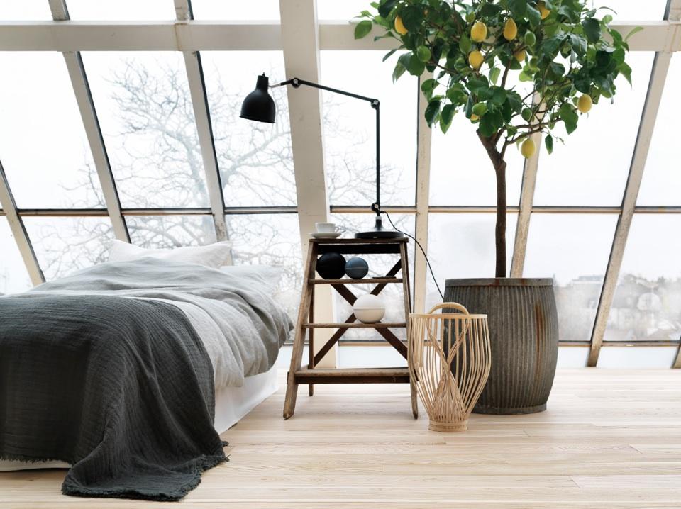全面ガラス張りの勾配天井のロフトのベッドルーム
