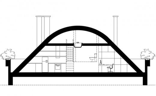 アーチ天井のリビング・ダイニング・キッチとその上のロフトの図面