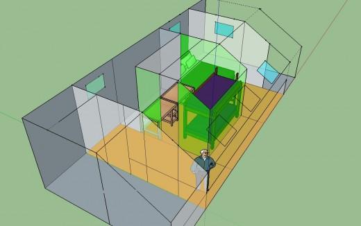 勾配天井の下のロフト的ベッドルーム クイーンサイズのベッドあり 12.5畳と4.5畳に区切ってみる 2段ベッドとデスク2個 斜めから