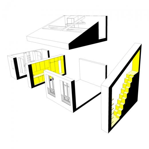 リノベーションでロフトを追加したワンルームマンションの立体断面図