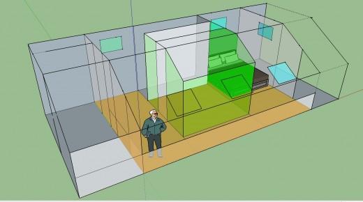 勾配天井の下のロフト的ベッドルーム クイーンサイズのベッドあり 12.5畳と4.5畳に区切ってみる 斜めから1